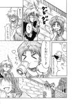 +_+ ahoge braid china_dress chinese_clothes comic drinking drooling glasses hat heart hidefu_kitayan hong_meiling indirect_kiss izayoi_sakuya monochrome morichika_rinnosuke scarlet_devil_mansion smile star touhou translated twin_braids rating:Safe score:0 user:danbooru