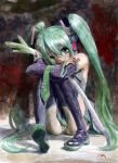 aqua_hair boots colored hatsune_miku holding misawa_hiroshi sitting solo spring_onion thighhighs traditional_media twintails vocaloid rating:Safe score:1 user:danbooru