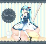 blue_eyes blue_hair choker dress finger_in_mouth food fruit hair_ribbon hatsune_miku highres in_food long_hair macaron minigirl orange_peko pantyhose pastry ribbon sitting strawberry sugar_cube twintails very_long_hair vocaloid wrist_cuffs rating:Safe score:0 user:danbooru