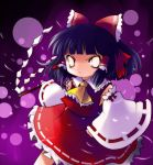ascot black_hair bow detached_sleeves empty_eyes glowing glowing_eyes gohei hair_bow hakurei_reimu head_bow highres miko solo touhou white_eyes yume_shokunin rating:Safe score:0 user:danbooru