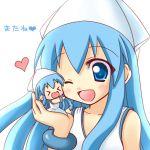 blue_eyes blue_hair chibi closed_eyes crossover dual_persona hat hinata_mirun ikamusume long_hair mini-ikamusume minigirl shinryaku!_ikamusume tentacle_hair wink rating:Safe score:1 user:danbooru