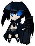black_hair black_rock_shooter black_rock_shooter_(character) blue_eyes chibi coat highres long_hair midriff navel pale_skin scar shorts shun_ss sword thigh_gap thighs transparent_background twintails weapon rating:Safe score:3 user:danbooru
