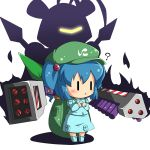 ? backpack bag blue_hair blush character_request chibi god-emperor hair_bobbles hair_ornament jinnouchi_akira kawashiro_nitori medarots missile open_mouth parody solo touhou weapon |_| rating:Safe score:2 user:danbooru