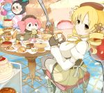 basket blonde_hair bread cake candy chair charlotte_(madoka_magica) cheese cup cupcake drill_hair eating feast fingerless_gloves food fruit fruit_tart glass gloves highres ice_cream looking_back magical_girl mahou_shoujo_madoka_magica minazuki_randoseru oudanhodou pancake pie pudding sitting strawberry strawberry_shortcake swiss_cheese table tea teacup thighhighs tiered_tray tomoe_mami tray treasure_chest twin_drills yellow_eyes rating:Safe score:0 user:danbooru