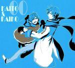 1girl blue bow character_name couple dress dual_persona earmuffs genderswap happy highres holding_hands kaiko kaito kunieda_(miniaturegarden) pixiv_manga_sample scarf vocaloid rating:Safe score:6 user:danbooru