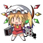 dress fang flandre_scarlet gem god-emperor jinnouchi_akira laevatein medarots multishot_rocket_launcher panties robot rocket_launcher side_ponytail solo the_embodiment_of_scarlet_devil touhou transparent_background underwear weapon wings |_| rating:Safe score:1 user:danbooru