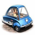 >:3 black_eyes brown_hair car cobblestone driving motor_vehicle nanatsuta original peel_p50 raglan_sleeves short_hair solo tan vehicle rating:Safe score:0 user:danbooru