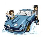 2boys asakura_akio beatrueno black_hair brown_hair bubble bucket car car_washing chibi multiple_boys nissan nissan_fairlady shima_tatsuya wangan_midnight rating:Safe score:1 user:danbooru