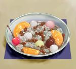 bowl cherry copyright_request cube food fruit kow_(k.) mandarin_orange mikan mitsumame mochi no_humans orange orange_slice realistic still_life wagashi rating:Safe score:2 user:danbooru