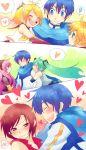 blue_hair blush hatsune_miku heart kagamine_len kagamine_rin kaito long_hair megurine_luka meiko smile spoken_heart sunny_spot tsundere tsuyuka_(sunny_spot) vocaloid rating:Safe score:0 user:Gelbooru
