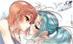 blue_eyes blue_hair blush brown_eyes long_hair multiple_girls nami nefertari_vivi one_piece orange_hair ponytail ryou_(shirotsumesou) short_hair yuri  rating:safe score:2 user:danbooru