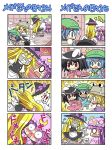 >_< 5girls ? anger_vein animal_ears black_dress black_hair blonde_hair blue_dress blue_eyes blue_hair blush bunny_ears chibi clenched_teeth colonel_aki comic controller crescent dress falling girl_on_top hair_bobbles hair_ornament hat inaba_tewi kawashiro_nitori kirisame_marisa long_hair moriya_suwako multiple_girls o_o open_mouth patchouli_knowledge pink_dress purple_dress purple_hair red_eyes remote_control robot sharp_teeth silent_comic surprised touhou translated translation_request twintails witch witch_hat rating:Safe score:1 user:danbooru