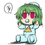 baby bad_id chibi green_hair hat kazami_yuuka nanatsume pacifier pajamas red_eyes simple_background touhou white_background young rating:Safe score:4 user:Gelbooru