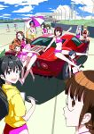 a-10_(artist) akizuki_ritsuko amami_haruka bad_id beach_umbrella bikini car ford ford_gt futami_ami futami_mami ganaha_hibiki hagiwara_yukiho hoodie hoshii_miki idolmaster innertube kikuchi_makoto kisaragi_chihaya left-hand_drive minase_iori miura_azusa motor_vehicle multiple_girls open_mouth shijou_takane smile swimsuit takatsuki_yayoi umbrella vehicle rating:Safe score:1 user:danbooru