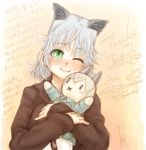 blush blush_stickers character_doll eila_ilmatar_juutilainen green_eyes highres holding ryou_(shirotsumesou) sanya_v_litvyak short_hair silver_hair smile strike_witches sweater wink  rating:safe score:0 user:danbooru