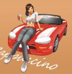 bangle blue_eyes bracelet breasts brown_hair car casual convertible daniel_macgregor dark_skin front-tie_top jewelry large_breasts midriff motor_vehicle pants paper_cup pun shirt shoes simple_background sleeves_rolled_up smile sneakers suzuki suzuki_cappuccino tied_shirt vehicle rating:Safe score:2 user:danbooru