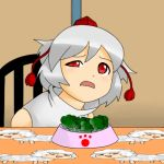 broccoli_(vegetable) chair disgusted food inubashiri_momiji lowres meme parody pet_bowl table touhou uneven_eyes vegetable when_you_see_it yukkuri_shiteitte_ne rating:Safe score:5 user:Gelbooru