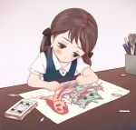 brown_hair child child_drawing commentary commentary_request crayon dachaku desk drawing hair_ribbon left-handed monster original pastels scissors solo twintails yellow_eyes rating:Safe score:4 user:danbooru
