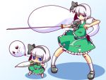 2girls balloon blue_eyes chibi daikon ghost hairband katana konpaku_youmu konpaku_youmu_(ghost) multiple_girls myon radish short_hair shuushokuna_ekus silver_hair sword touhou weapon yukkuri_shiteitte_ne rating:Safe score:1 user:Gelbooru