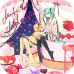 aqua_eyes aqua_hair bent_over blonde_hair character_name food fruit hatsune_miku high_heels hourglass kagamine_rin long_hair macaron minigirl multiple_girls nail_polish oversized_object panties see-through shoes short_hair sitting spork star strawberry thigh-highs thighhighs twintails underwear very_long_hair vocaloid wadaka rating:Safe score:0 user:danbooru