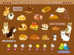 bird brown_background bunny cat cookie dog doughnut food hamburger ice_cream no_humans original parakeet partially_translated rabbit taiga_ichigo text translated translation_request rating:Safe score:2 user:danbooru