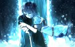 1girl armor belt black_hair blue blue_eyes blue_hair cape coat covering_eyes cry elbow_gloves fur_trim gloves hug kirito mole sachi_(sao) senri_(ho_ru03_15) smile sword_art_online tears rating:Safe score:1 user:danbooru