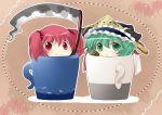 aenobas chibi cup green_eyes green_hair hair_bobbles hair_ornament hammer_(sunset_beach) hat in_container in_cup looking_at_viewer multiple_girls onozuka_komachi outline red_eyes rod_of_remorse scythe shikieiki_yamaxanadu smile touhou twintails rating:Safe score:0 user:danbooru
