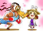 blood chibi crossover face_punching ginnyo hat m_bison moriya_suwako punch punching pyonta smile street_fighter street_fighter_ii touhou rating:Safe score:1 user:Gelbooru