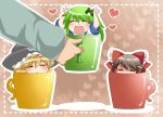 =_= ^_^ aenobas blonde_hair blush bow brown_eyes closed_eyes cup detached_sleeves eyes_closed frog_hair_ornament green_hair hair_bow hair_ornament hair_tubes hakurei_reimu hammer_(sunset_beach) hands hands_up hat heart in_container in_cup kirisame_marisa kochiya_sanae long_hair minigirl multiple_girls open_mouth smile touhou wide_sleeves witch_hat rating:Safe score:0 user:danbooru