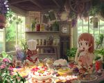 brown_eyes brown_hair butter cake cat checkerboard_cookie chef_hat child clock cookie cup dessert doughnut eating feast flower food food_on_face fruit grandfather_clock harupy hat highres lens_flare mont_blanc_(food) mug original pancake pastry resized revision short_hair strawberry strawberry_shortcake swiss_roll tart_(food) teacup teapot whipped_cream rating:Safe score:2 user:danbooru