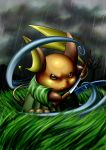 cafe_(chuu_no_ouchi) grass katana no_humans pokemon pokemon_(creature) raichu rain samurai sword weapon rating:Safe score:1 user:danbooru