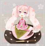 1girl character_name chibi detached_sleeves flower food hair_flower hair_ornament hatsune_miku headset in_food izayoi_shigure kneehighs long_hair minigirl necktie open_mouth pink_eyes pink_hair sakura_miku sakura_mochi sitting skirt solo twintails very_long_hair vocaloid wagashi yokozuwari rating:Safe score:0 user:danbooru