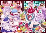 ayasaka bad_id bat_wings blonde_hair blue_eyes braid cake doughnut dress flandre_scarlet food group hairband hat highres hong_meiling izayoi_sakuya long_hair maid pastry patchouli_knowledge purple_eyes purple_hair red_eyes red_hair redhead remilia_scarlet ribbons short_hair side_ponytail silver_hair touhou twin_braids violet_eyes white_hair wings