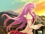 blush hanafubuki miyano_shion purple_hair seifuku sunset wallpaper yellow_eyes