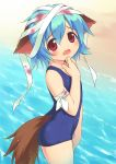 1boy animal_ears bandages beach blood blue_hair blush child crossdressing dog_ears dog_tail doki_doki_majo_shinpan fang inou_shin inumimi male mochizuka_yuuma one-piece_swimsuit red_eyes school_swimsuit shin_inoh short_hair solo swimsuit tail trap wading water wet