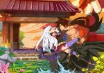 1boy garden gate katanagatari lantern lily outdoors pond splash tagme togame topless water yasuri_shichika