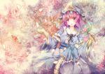 hat japanese_clothes michii_yuuki pink_hair red_eyes saigyouji_yuyuko short_hair touhou