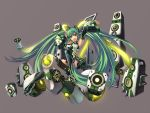 aqua_eyes aqua_hair detached_sleeves hatsune_miku headphones jak long_hair mecha_musume simple_background sitting skirt smile solo speaker thighhighs twintails very_long_hair vocaloid zettai_ryouiki