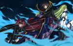 2girls blue_eyes blue_fire c.c. code_geass green_hair kallen_stadtfeld lelouch_lamperouge long_hair red_hair short_hair yellow_eyes