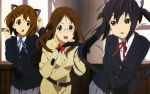 belt black_hair blazer brown_eyes brown_hair buttons collar glasses hairclip hirasawa_yui k-on! long_hair nakano_azusa nekomimi official_art ribbon school_uniform shirt short_hair skirt twintails yamanaka_sawako