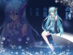hatsune_miku long_hair musical_note vocaloid water