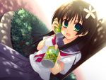 black_hair can cans dutch_angle flower green_eyes hair_flower hair_ornament long_hair moriguchi_yuu saten_ruiko school_uniform seifuku serafuku tea to_aru_kagaku_no_railgun to_aru_majutsu_no_index