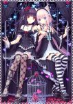 animal_ears ankle_garter blue_eyes cat_ears chocolat_(sayori) elbow_gloves fishnet_stockings flat_chest flower gothic hands leg_ribbon legs lolita_fashion long_hair multiple_girls nekomimi original sayori shoe_dangle single_shoe skirt striped striped_legwear striped_thigh_highs thigh_highs thighhighs twintails vanilla_(sayori)