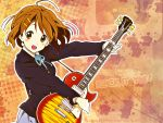 blazer blush brown_eyes brown_hair buttons collar guitar hair_ornament hairclip highres hirasawa_yui k-on! open_mouth ribbon school_uniform shirt short_hair skirt wallpaper