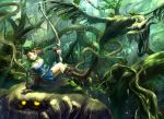 archery arrow bad_id blue_eyes boots bow_(weapon) breasts brown_hair cleavage dragon elf fangs fantasy forest hat iceojin monster nature pixiv pixiv_fantasia pixiv_fantasia_4 pointy_ears ponytail scenery tree weapon wings