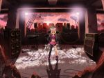amplifier blonde_hair blue_eyes cable drum hair_ornament hair_ribbon hairclip highres instrument jewelry kagamine_rin keyboard_(instrument) legs microphone midriff necklace ribbon ruins shiramori_yuse short_hair skirt solo speaker vocaloid yamaha