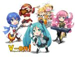 >_< 4girls :3 band chibi drum drum_set guitar hatsune_miku instrument k-on! kagamine_len kagamine_rin kaito keyboard_(instrument) living_hair megurine_luka meiko microphone mouth_hold multiple_boys multiple_girls parody prehensile_hair spring_onion synthesizer takoluka tentacle_hair themed_object thighhighs tian_shi_meng_mo twintails vocaloid white x3