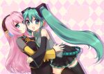 2girls blue_eyes detached_sleeves green_eyes green_hair hatsune_miku headset heart highres hug long_hair mani megurine_luka multiple_girls nail_polish pink_hair skirt thighhighs twintails vocaloid zettai_ryouiki