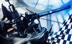 bad_id bikini_top black_hair black_rock_shooter black_rock_shooter_(character) blue_eyes boots cannon chain coat glowing glowing_eyes gun hako_(mypixid) highres jacket long_hair midriff pale_skin shorts solo twintails uneven_twintails very_long_hair