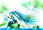 1girl aqua_eyes aqua_hair clover hatsune_miku long_hair plant realistic sitting skirt smile solo thighhighs twintails very_long_hair vocaloid youshun_(naturaljuice) zettai_ryouiki